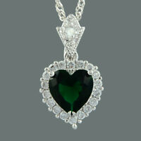 CZ Ocean Love Heart 18K White Gold Plated Green Emerald Pendant Necklace Chain