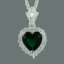 Plated Green Emerald Pendant Necklace Chain Cz Ocean Love Heart 18K White Gold