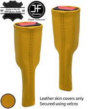 YELLOW REAL LEATHER 2X SEAT BELT STALK LONG COVERS FITS CORVETTE C5 1997-2004