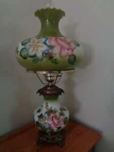 ANTIQUE HURRICANE Table LAMPS RARE~ handpainted  X-TRA LARGE GREAT GIFTS GWTW