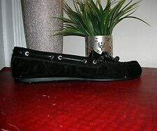 Coach Black Suede Antonia Shearling MOC Loafer Flats Shoes Size 10