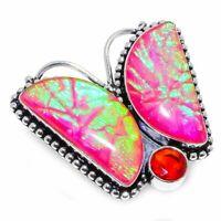 Triplet Fire Opal, Garnet Gemstone 925 Sterling Silver Jewelry Ring Size 9