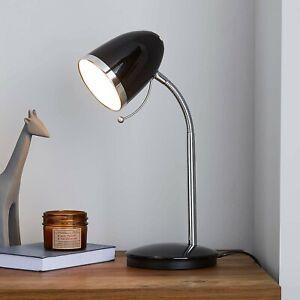 VINTAGE RETRO STYLE BLACK & CHROME INDUSTRIAL OFFICE DESK LAMP TABLE LIGHT BED