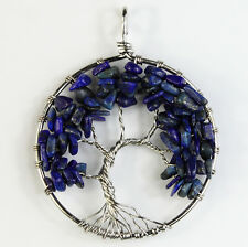 Natural Lapis Lazuli Tree of Life Chakra Chips Beads Silver Pendant For Necklace
