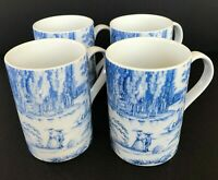 Set of 3 Blue White Toile Metropolitan Museum Of Art Ceramic Coffee Tea Mug Cup