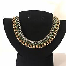 Metal Statement Necklace Heavy Chunky Gold Pewter Silver Tone Chain Link Collar