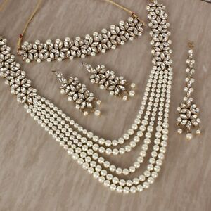 Long Necklace Indian Bollywood Kundan White Beads Choker Jewelry Set Traditional
