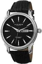 Akribos XXIV AK726SSB Quartz Coin-Edge Bezel Genuine Leather Strap Mens Watch