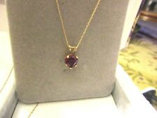 14K YELLOW GOLD NECKLACE WITH NATURAL  RUBY HEART PENDANT