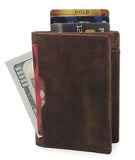 Leather Minimalist Card Front Pocket Bifold Travel Thin Slim Leather Light Brown