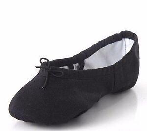 Black Split Sole Canvas Ballet Dance Gymnastic Shoes