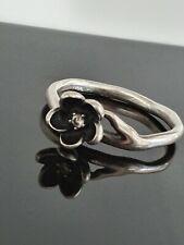 Pandora Mystic Floral CZ Silver Black Enamel Ring Size 60 Large 190918 Free Post