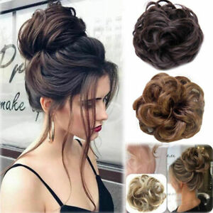 Women Natural Curly Messy Elegant Bun As Human Hair Piece Scrunchie Extensions