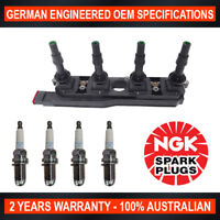 4x Genuine NGK Spark Plugs & 1x Ignition Coils for Holden Astra TS Tigra XC