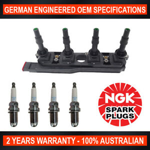 4x NGK Spark Plugs w/ Swan Ignition Coil Pack for Holden Astra TS Tigra XC