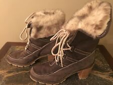 $$$ HUNTER Brown Suede Leather Designer Ankle Wedge Boots 39 (US 9)