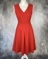 HOBBS Rich Red Pleated Midi Fit and Flare Dress Size UK 8 Occasion