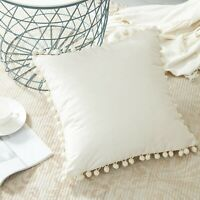 Pack of 2 Off White Cotton Fabric Cushions Pillow Covers Pom Pom Fringes Lace