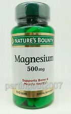 Magnesium Nature's Bounty 500 mg 100 Coated Caplets Bone  Muscle Health New