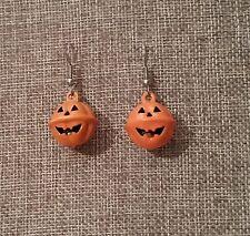 Jack-O-Lantern Pumpkin Pierced Earrings Halloween Dangling Orange Smiling