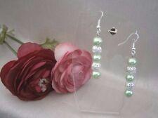Alluring Pale Green Glass Pearl Silver Bead Dangle Drop Pierced Earrings Lecia