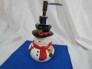 """NIB Snowman Ceramic Soap Pump 8"""" Tall"""