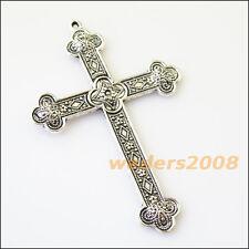 2 New Flower Cross Tibetan Silver Tone Charms Pendants 53.5x80mm