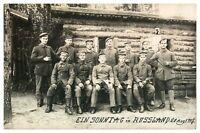Antique WW1 military postcard portrait of regiment Ein Sonntag In Russland 1917