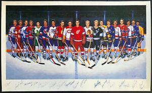 500 Goal Scorer NHL Hockey Multi Signed Autographed Print x16 Ron Lewis Art JSA