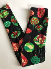 Lularoe Tween Kid's Leggings Beautiful Christmas Black Green Red Ornaments Nwot