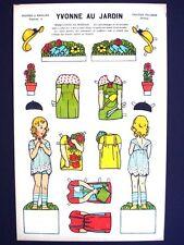Vintage Pellerin Imagerie Yvonne au Jardin Bright Uncut Paper Dolls Inv1393
