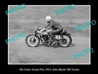 OLD HISTORIC MOTORCYCLE PHOTO OF JOHN HARTLE & HIS 500 NORTON, ULSTER GP 1955