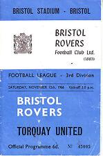 BRISTOL ROVERS V TORQUAY UNITED 12 NOV 1966 3rd DIV at EASTVILLE RARE VGC