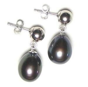 Genuine AAA Black Pearl Dangle Earrings W/ 5mm Ball Post in 14K White Gold
