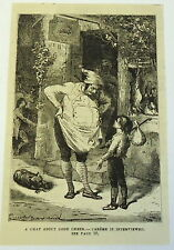 1882 magazine engraving ~ CHAT ABOUT GOOD CHEER- orphan boy talks to butcher