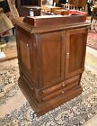 Antique Walnut End Side Table  Primitive Spool Cabinet
