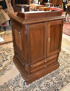 Antique Walnut End Side Table, Primitive Spool Cabinet ?