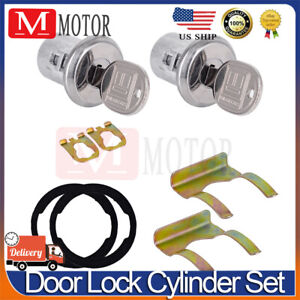 Pair of 2 Door Lock Cylinder Set For Chevy Chevrolet GMC Truck SUV Oldsmobile