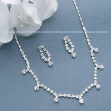 Crystal Necklace Set Bridal Wedding Bridesmaid Gift Silver Sp Prom New #83