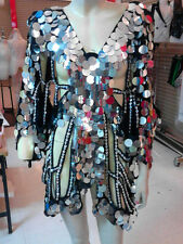 Silver Sequin Butterfly Coat Dance Dress Showgirl Drag Queen Cabaret Costume