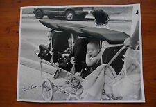 Vintage Photo Black & White 11x14 Babies Stroller Pram Triplets Cousins Twins