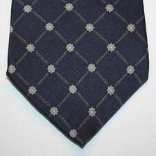 NEW Nautica Silk Neck Tie Dark Blue Navy with Florals and Plaids 858