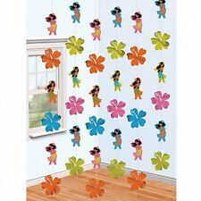 Pack of 6 Hula Girl & Flower String Tropical Hawaiian Hanging Party Decorations