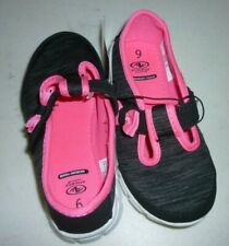 New Girls size 8 Lightweight Slip On Shoes No Tie Neon Pink and Gray