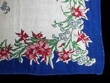 Vintage Pink & Blue Flower Print Hankie Floral Printed Handkerchief 310