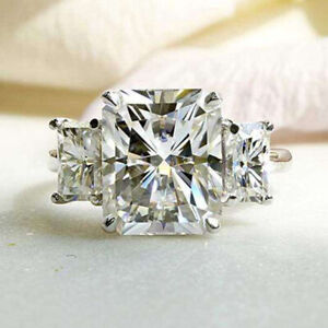 5.0 TCW Radiant Cut Moissanite Three-Stone Engagement Ring 14k White Gold Plated