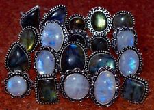 20 PCs. Natural Labradorite & Moonstone 925 Sterling Silver Plated Rings Jewelry
