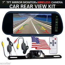 "7"" HD Mirror Monitor Car Wireless Backup Rear View Camera Parking Reverse Kit"