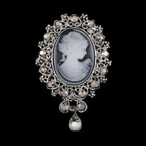 Retro Cameo Queen Gold Crystal Rhinestone Brooch Pin DIY Wedding Bouquet Jewelry