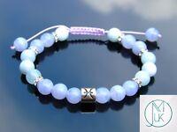 Pisces Blue Lace Agate/Aquamarine Birthstone Bracelet 6-9'' Macrame Healing
